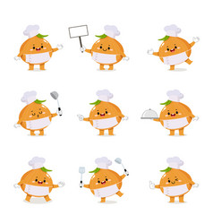 Set cute onion chef cartoon characters vector