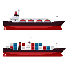 Set gas tanker lng cargo ship tanker with vector