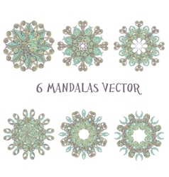 Set mandalas Round Ornament Pattern Vintage vector