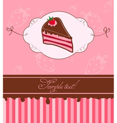 Strawberry cake card vector