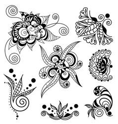 tattoo henna element set vector image