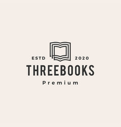 three books hipster vintage logo icon vector image