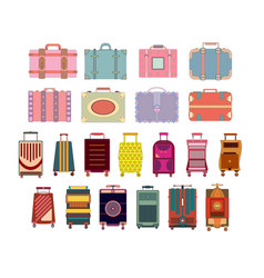 travel suitcase set isolated on white background vector image