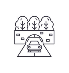 travelling by car line icon concept travelling by vector image