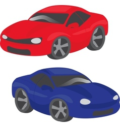 Two cartoon cars vector image