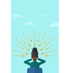 Woman with arrows poinded to her head vector image