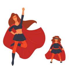 Wonder woman and girl super hero family vector