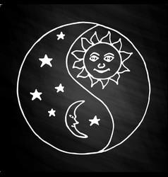 Yin yang moon at night on chalkboard vector