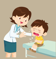 female doctor comforting her crying patient boy vector image