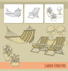 lounge chairs hammock and flowers in pot vector image vector image