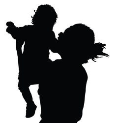 mother with daughter happy black vector image