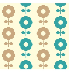 Retro flowers seamless background - blue and brown vector image