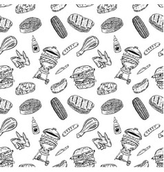 seamless pattern bbq and grill design element for vector image vector image