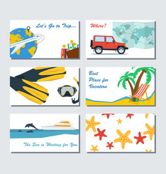 six card template - summer vacation vector image vector image
