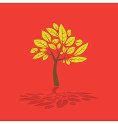 Tree and leaf graphic vector image