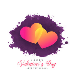 two hearts on grunge background for valentines day vector image