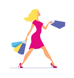 young blond woman in pink dress walking with vector image