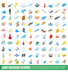 100 ocean icons set isometric 3d style vector image vector image