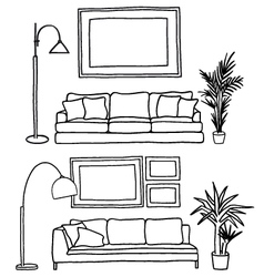 couch and blank picture frame mock-up vector image vector image
