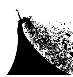 Silhouette of Opera Singer with Long Hair Like vector image vector image