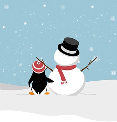 Snowman with penguin vector image vector image