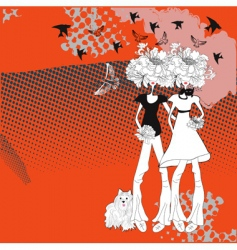 two young girls vector image vector image