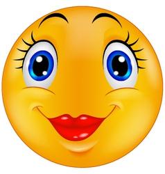 Cute female emoticon smiley vector image