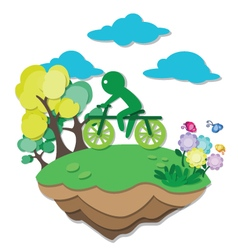 green earth bicycle vector image vector image