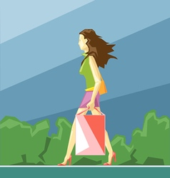 Shopping lady in green and pink clothes vector image