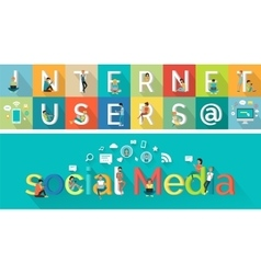 Social Media Concept in Flat Style Design vector image