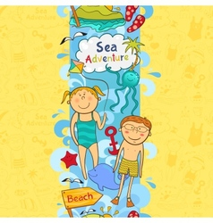 Cute seamless border with beach elements vector image vector image