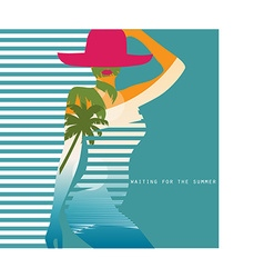 double exposure Woman in swimsuit vector image vector image