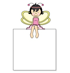 Fairy sitting on a frame vector image