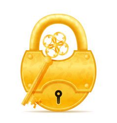 golden vintage lock and key stock vector image vector image