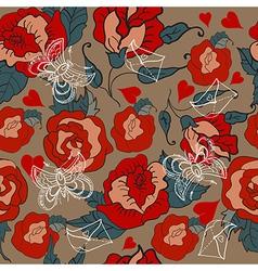 Seamless Vintage Floral pattern for Valentine vector image vector image