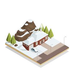 winter bungalow landscape isometric composition vector image vector image