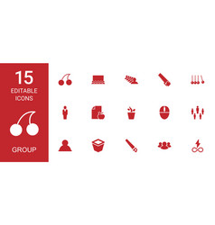 15 group icons vector image
