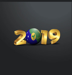 2019 golden typography with christmas island flag vector