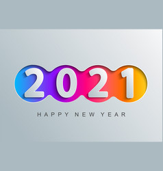 2021 new year greeting card in paper cut style vector image