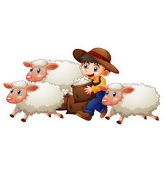 A boy with three cute sheep on white background vector