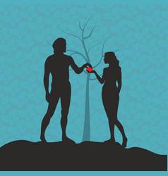 Adam and eve in garden eden vector