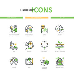 Archaeology - modern line design style icons set vector