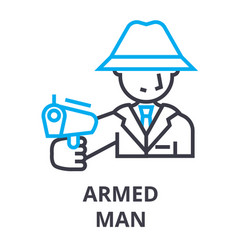 armed man thin line icon sign symbol vector image