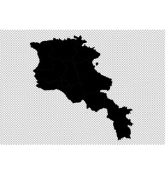 armenia map - high detailed black map with vector image