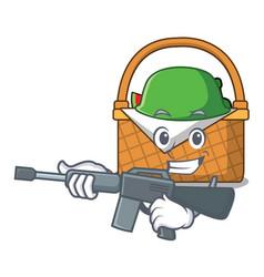 Army picnic basket character cartoon vector