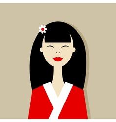 Asian woman portrait for your design vector