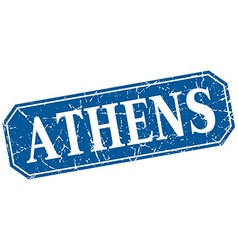 Athens blue square grunge retro style sign vector