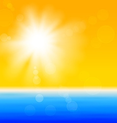 Background with shiny sun over the sea vector image