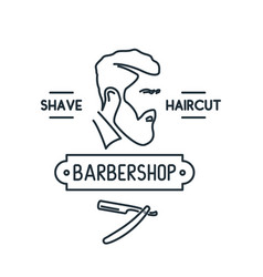 barbershop line icon men with beard liner style vector image