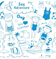 Beach seamless pattern in doodle style vector image